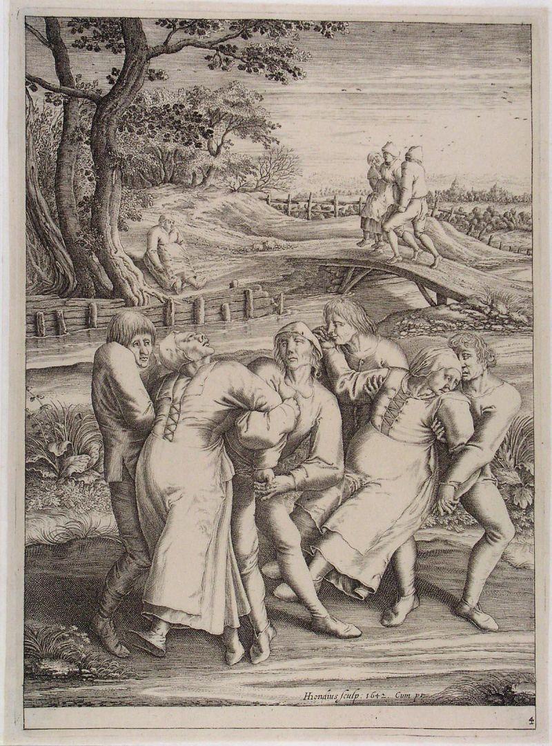 Epidemia da dança em gravura medieval. Crédito: Commons