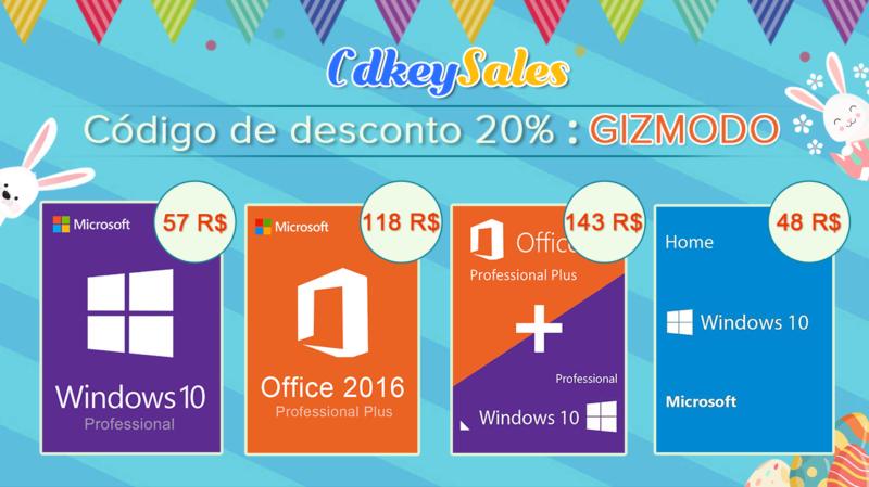 Leitor do Giz, adquira licenças para Windows 10 (R$57) e Microsoft Office (R$48) com descontos (muito) especiais