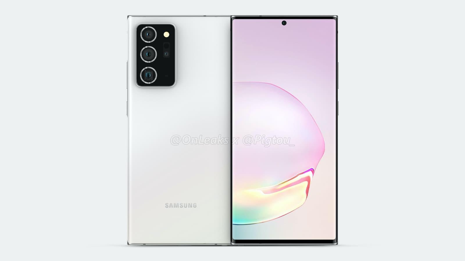 Renderização do possível Galaxy Note 20+