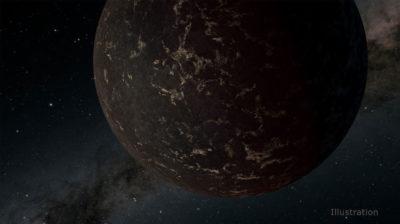 Ilustração de exoplaneta rochoso. Crédito: NASA/JPL-Caltech/R. Hurt (IPAC
