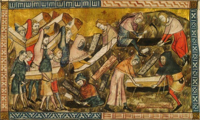 Miniatura de Pierart dou Tielt mostrando pessoas enterrando vítimas da Peste Negra.Imagem: Commons