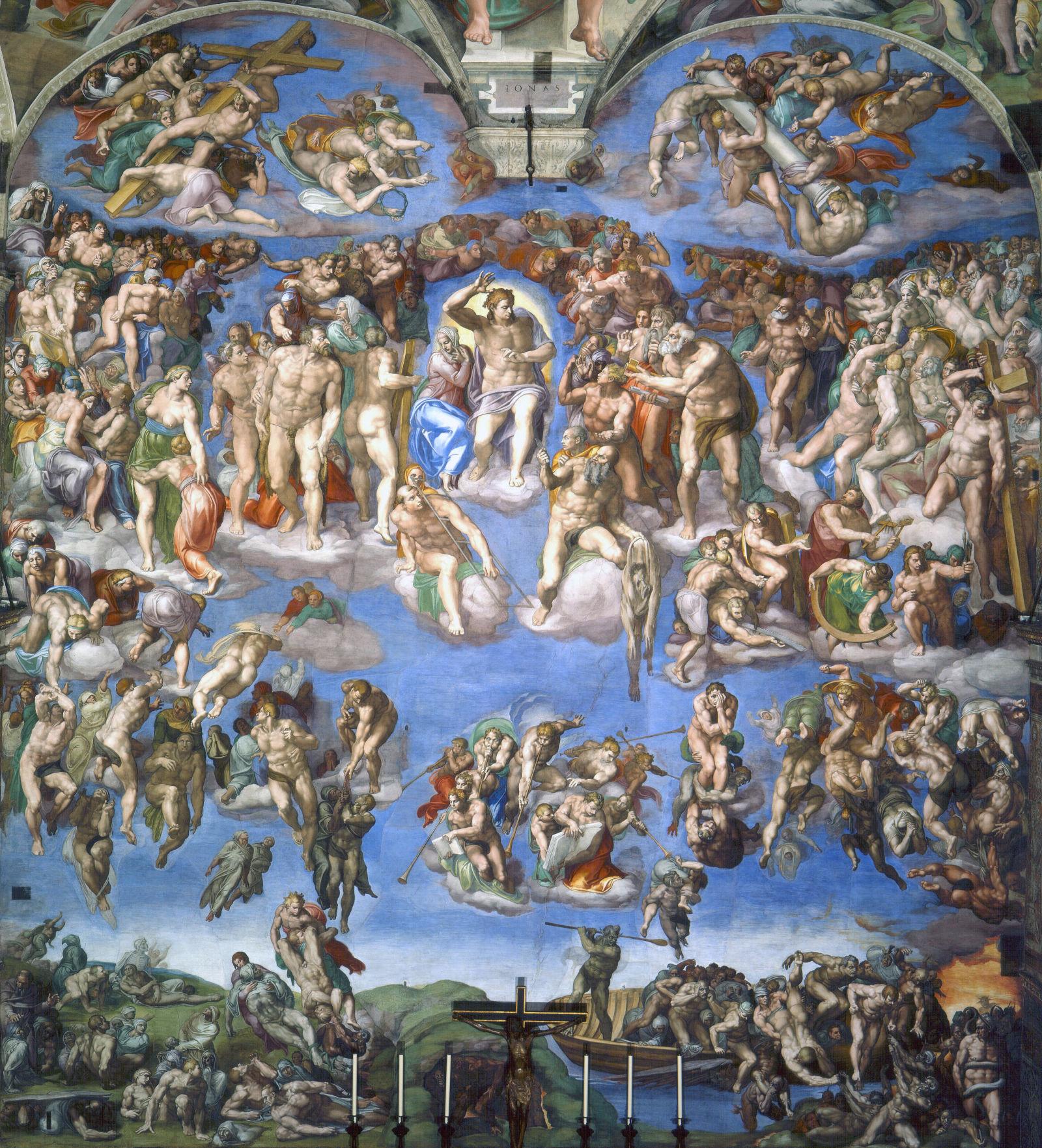 Afresco de Michelangelo do Juízo Final de 1541. Imagem: Commons