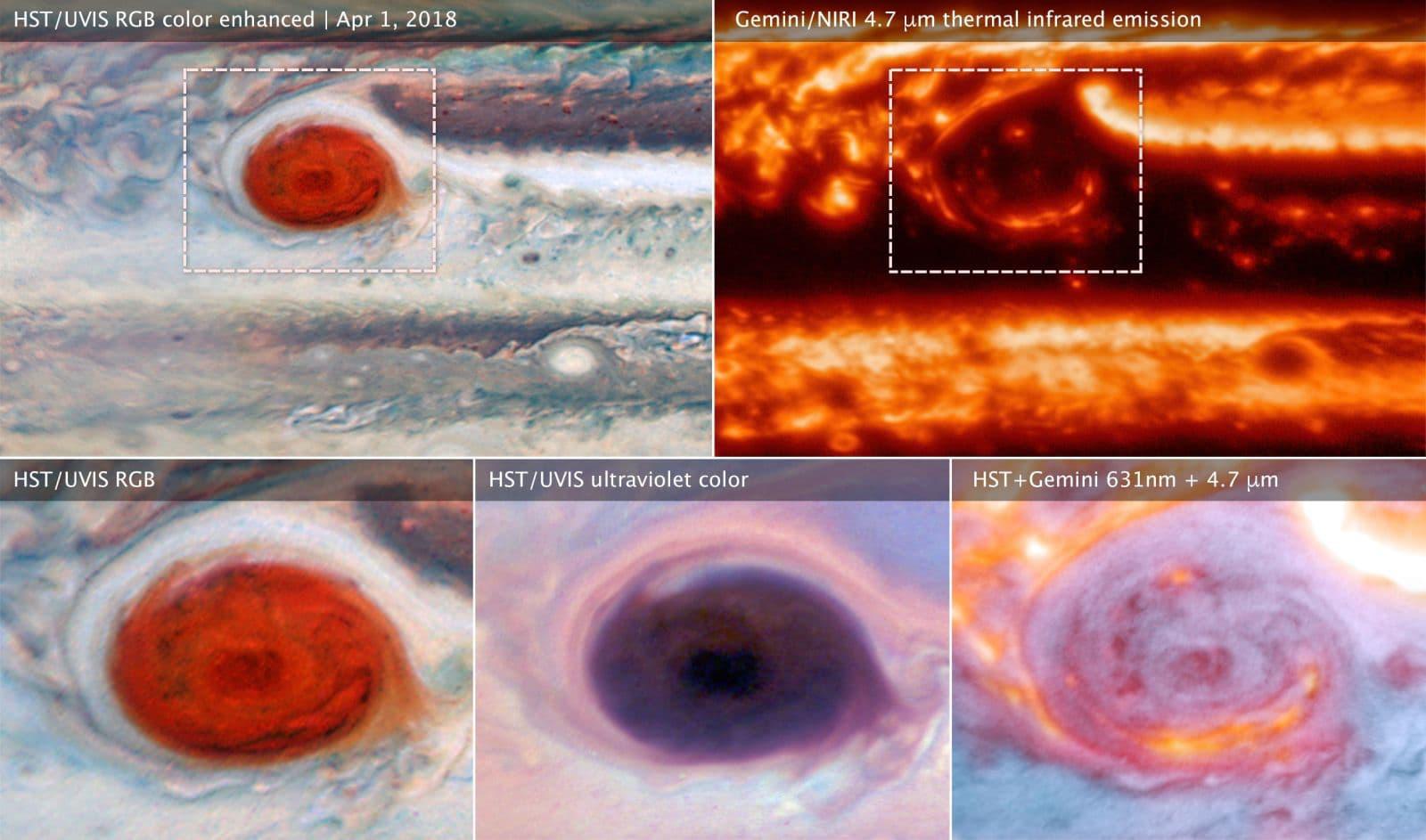 Detalhes da Grande Mancha Vermelha de Júpiter