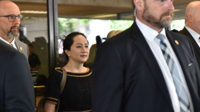 Meng Wanzhou na Suprema Corte da Columbia Britânica, em 27 de maio de 2020.