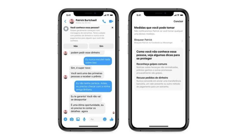 Avisos que aparecerão em conversas do Facebook Messenger