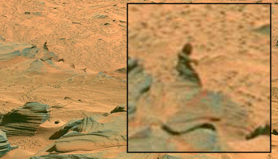 Ilusão de ótica de imagem de mulher em Marte. Crédito: NASA/JPL-Caltech/Cornell University/Gizmodo