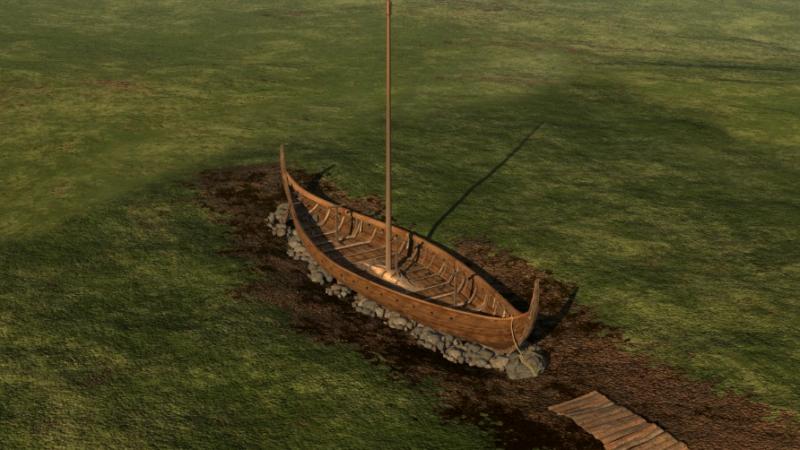 Ilustração do navio antes de ser enterrado. Crédito: NIKU