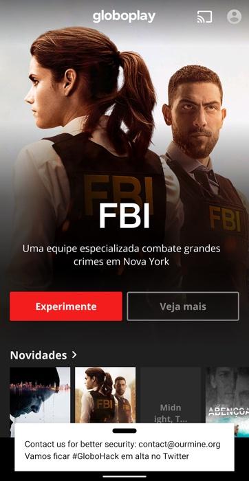 Notificação hackeada exibida no app Globoplay