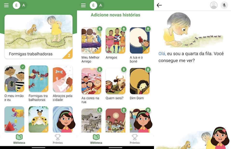 Capturas de tela do app Read Along, do Google