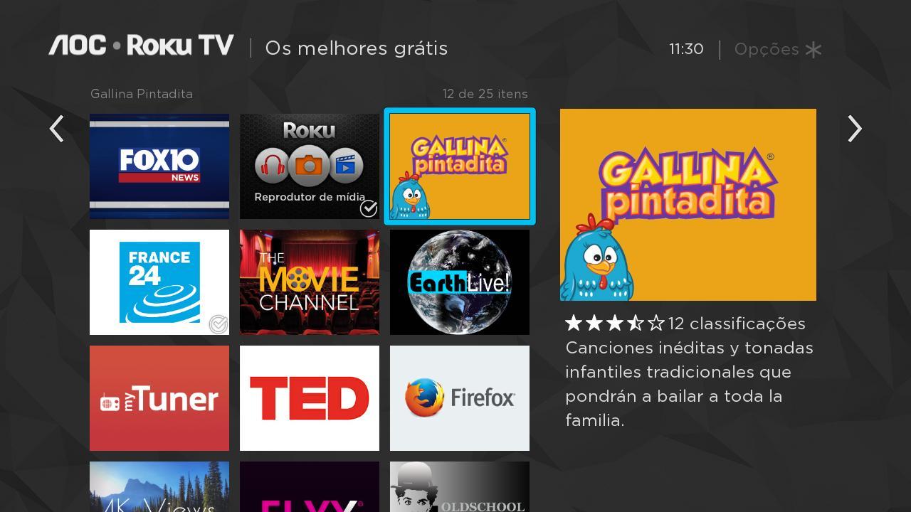 Alguns apps e canais disponíveis para RokuOS