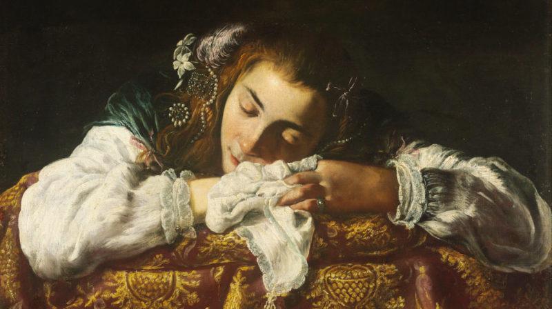 """""""Sleeping Girl"""" óleo sob tela, feito aproximadamente em 1620. Ilustração por Domenico Fetti"""