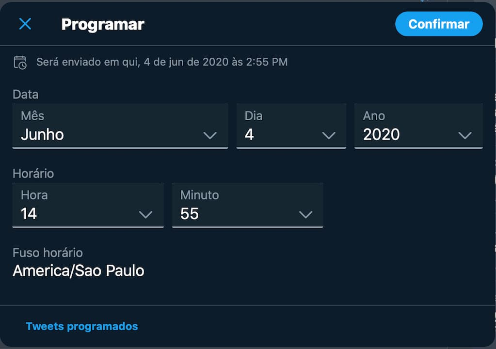 Campo para agendar posts no Twitter web