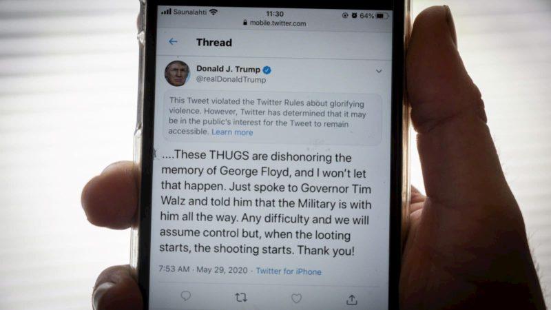 Tuíte do presidente dos EUA, Donald Trump, com ameaças contra manifestantes
