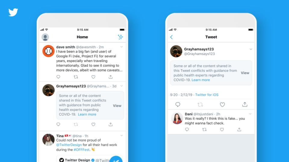 Selo do Twitter para conteúdos enganosos