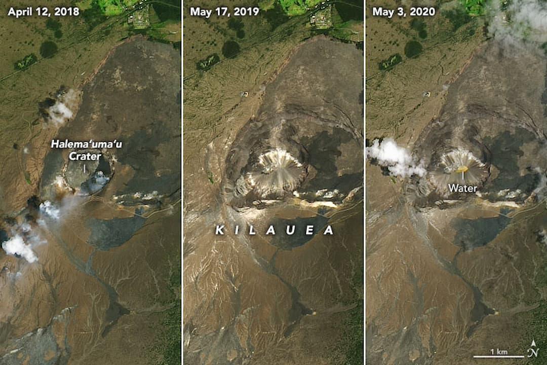 Imagens aéreas de diferentes datas do vulcão Halema'um'u