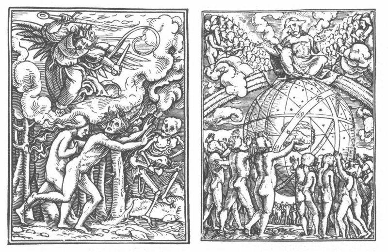 Duas xilogravuras da Dança da Morte, de Hans Holbein. À esquerda, Adão e Eva são expulsos do Éden. À direita, está o Juízo Final. Imagem: Commons via Atlas Obscura