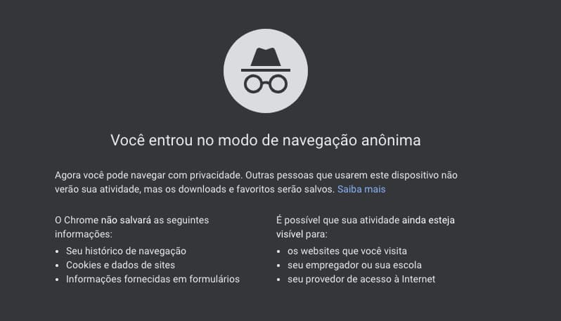 Aviso do modo anônimo do Google Chrome