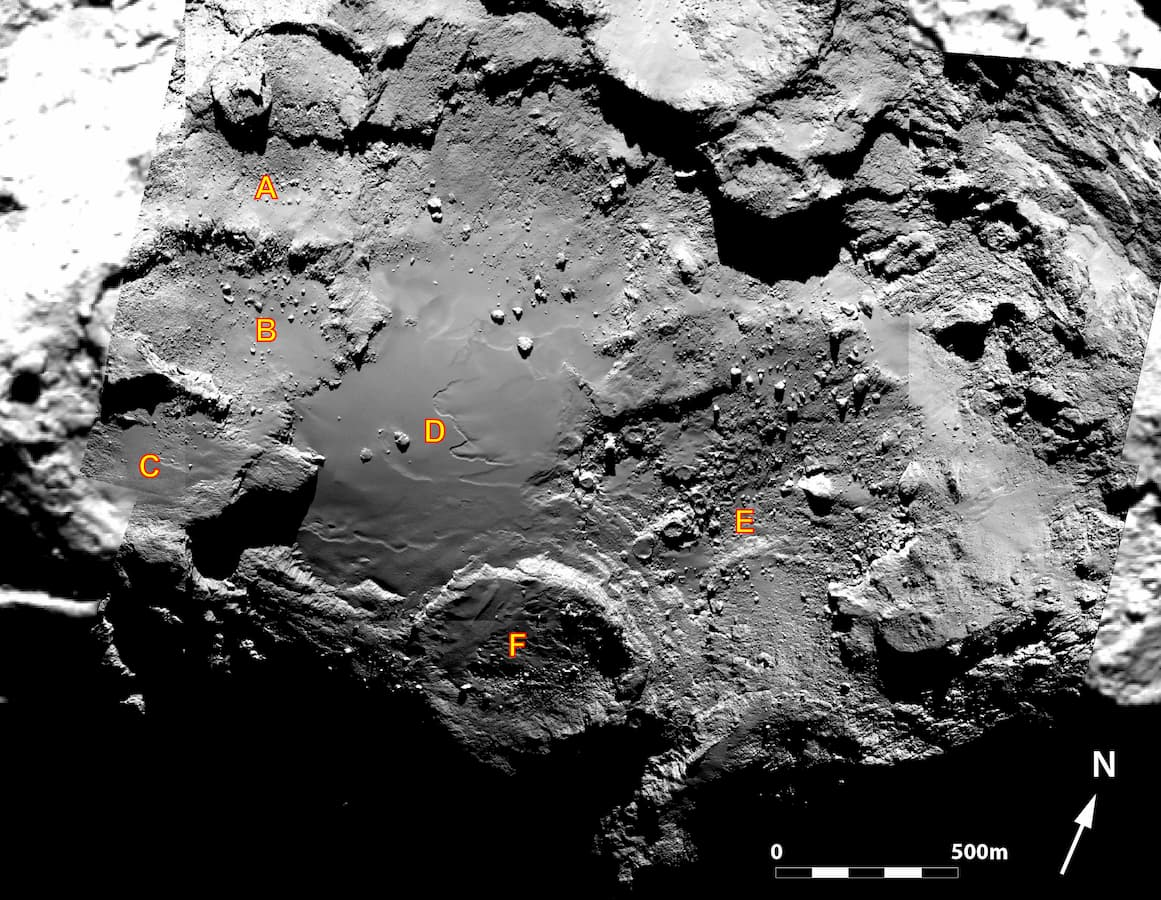 Bacias de acumulação identificadas dentro da região de Imhotep no Cometa 67P/Churyumov-Gerasimenko