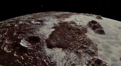 A borda acidentada da Planície Sputnik de Plutão