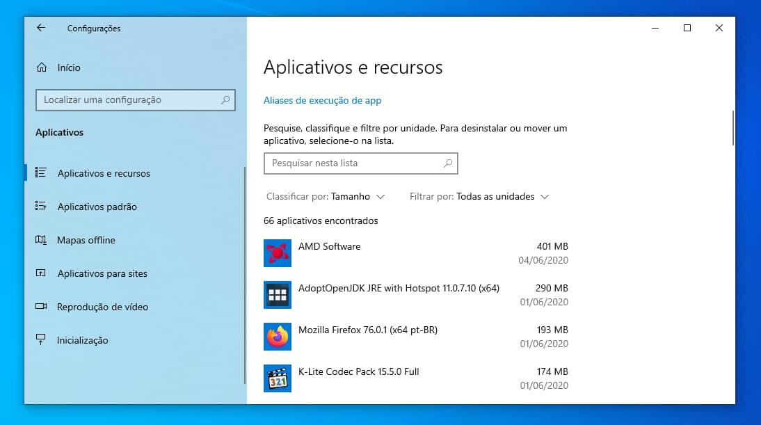 Lista de programas instalados no Windows 10