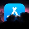 Logotipo da App Store, da Apple, em meio a uma fumaça negra