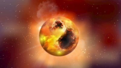 Conceito artístico de Betelgeuse e suas hipotéticas manchas superficiais