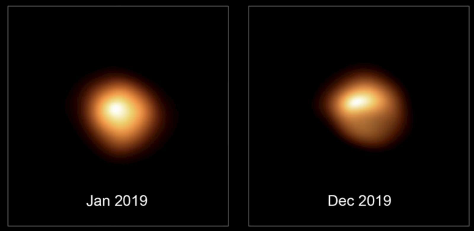 Imagens de alta resolução de Betelgeuse mostram a distribuição do brilho na luz visível em sua superfície antes e durante seu escurecimento