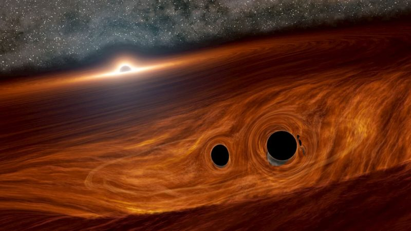 Imagem conceitual de dois buracos negros a beira de uma fusão, situados dentro do disco gasoso de um buraco negro supermassivo vizinho