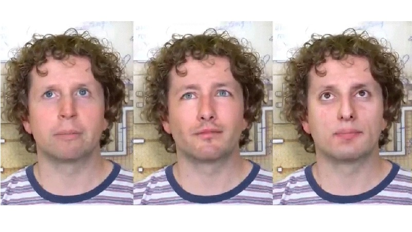 Três rostos em vídeo de deepfake