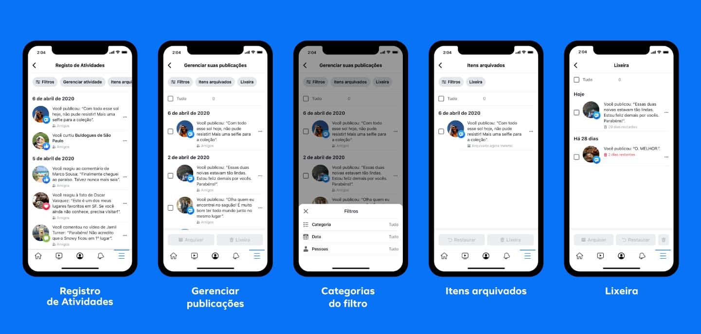 Novo recurso Gerenciar Atividade do Facebook