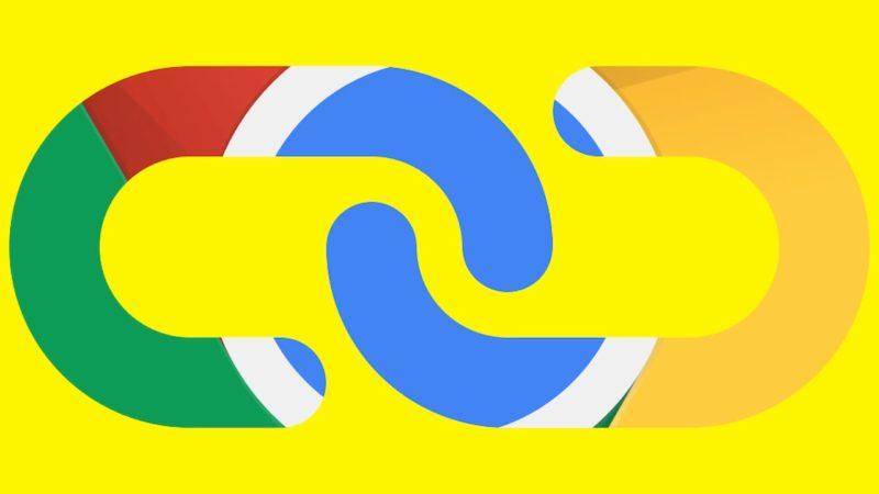 Ilustração do ícone de um hyperlink com cores do Chrome