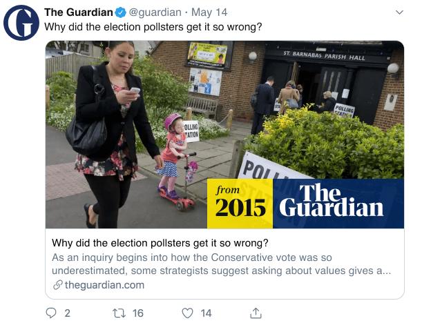 Postagem do Twitter do Guardian indicando que notícia é originalmente de 2015