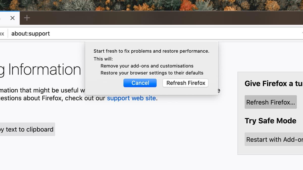 Opção para restaurar o Firefox