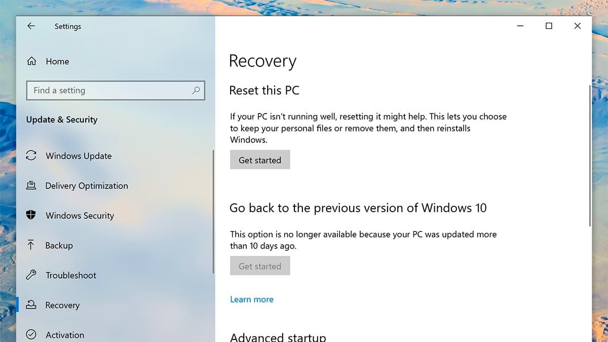 Tela de reinstalação do Windows