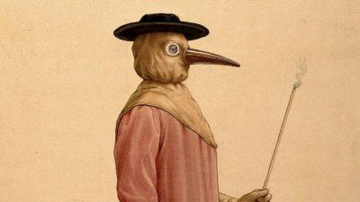 Um médico usando uma cobertura contra pragas do século 17