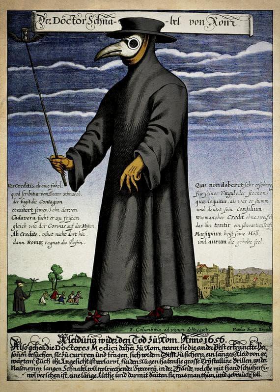 Gravura em cobre do Dr. Schnabel, um médico da peste na Roma do século XVII