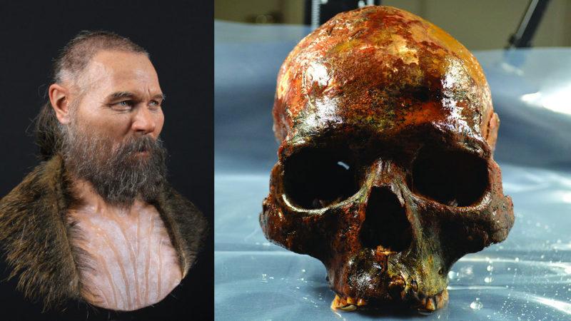 À esquerda: reconstrução facial do homem mesolítico da Suécia. À direita: seu crânio, no qual a reconstrução foi baseada. Crédito: Oscar Nilsson/S. Gummesson et al., 2018