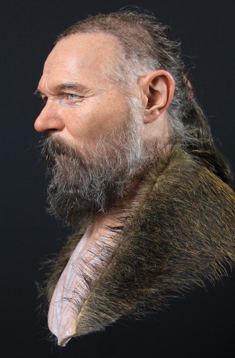 Reconstrução facial de homem encontrado em Kanaljorden, na Suécia. Crédito: Oscar Nilsson
