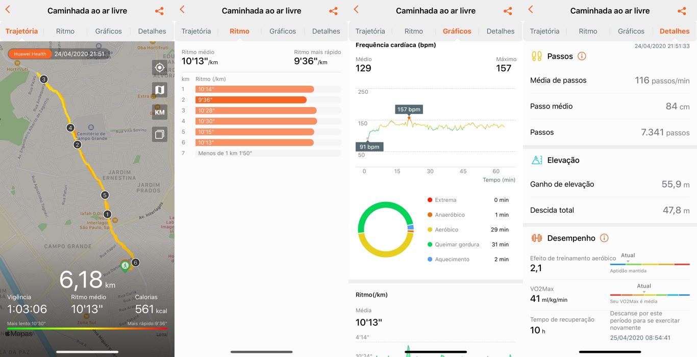 Capturas de tela do app Huawei Health