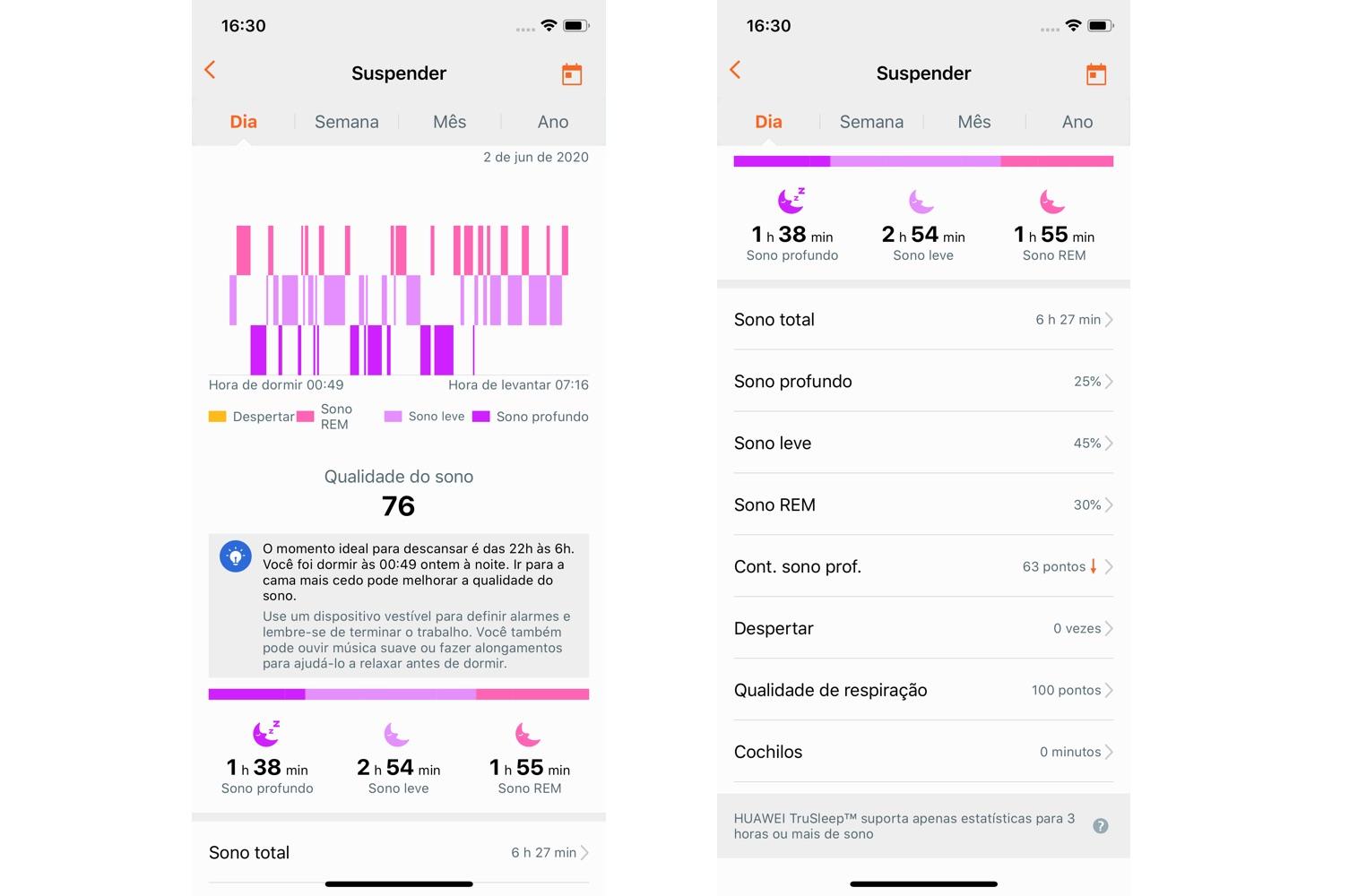 Informações de sensor de sono do app Huawei Health