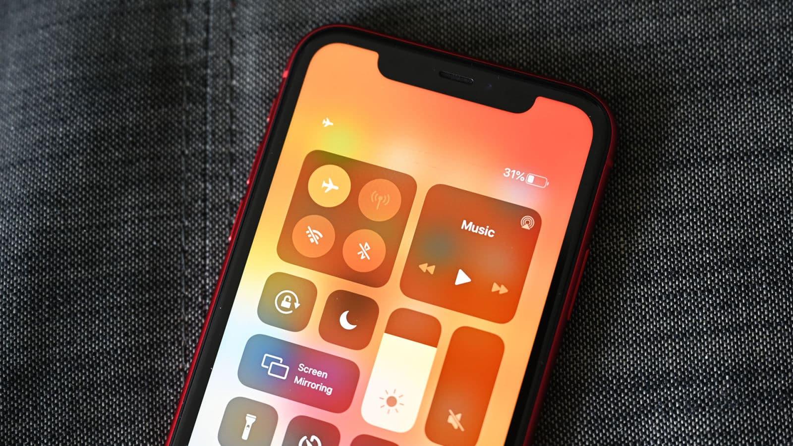 Opção do modo avião no iPhone