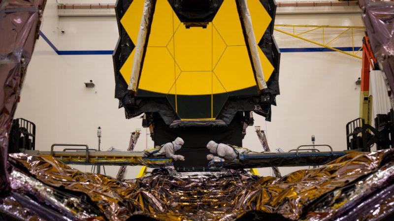Telescópio espacial James Webb na Northrop Grumman no sul da Califórnia. Crédito: Northrop Grumman