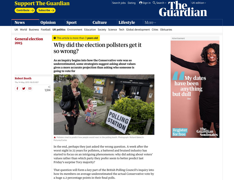 Aviso de notícia antiga do jornal britânico Guardian