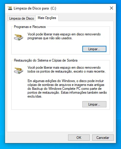 Limpeza de Disco do Windows 10 no menu Mais Opções
