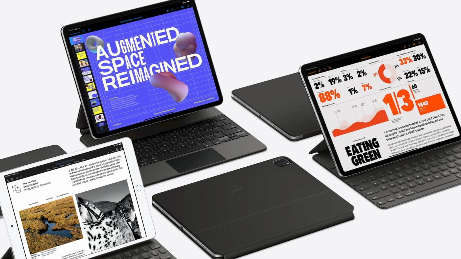 iPad Pro com acessórios como teclado