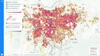 Mapa de infecções por coronavírus em São Paulo