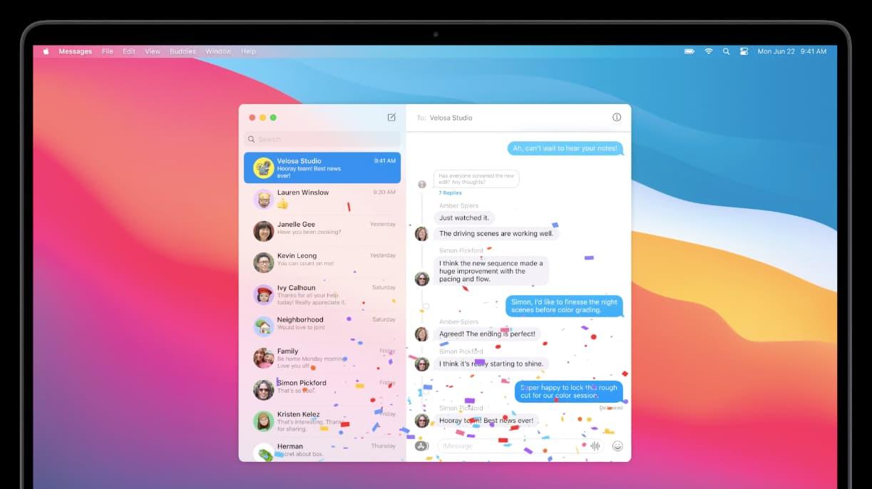 Aplicativo de Mensagens no macOS Big Sur