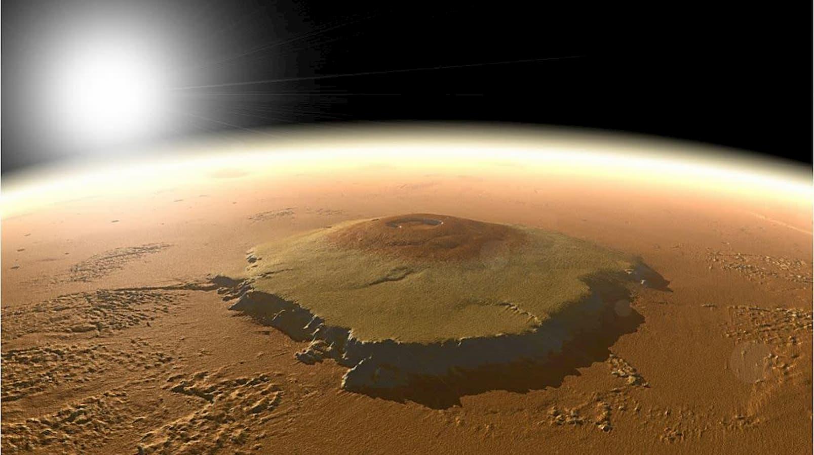 Representação gerada por computador do Monte Olimpo em Marte