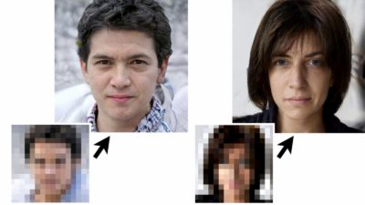 Imagem de demonstração da tecnologia que revelar rostos de fotos borradas com pixels