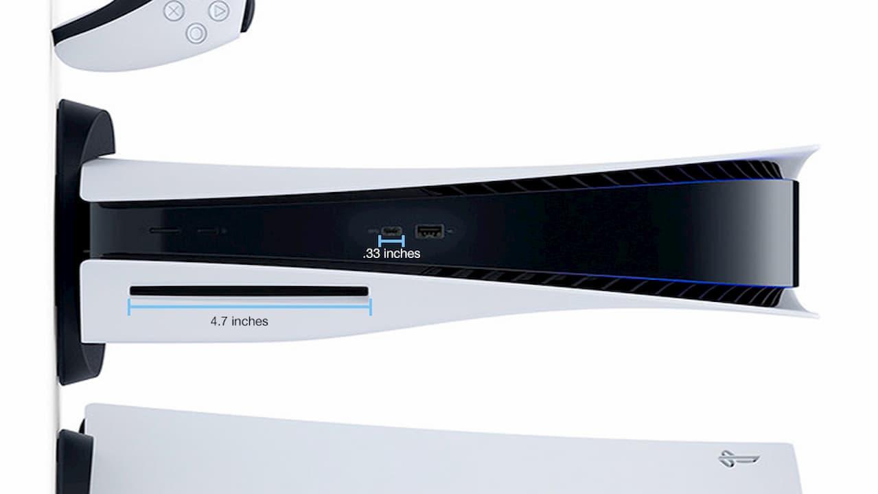 PlayStation 5 e as dimensões da porta USB-C e leitor de disco